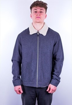 Vintage Farah Borg Jacket Faux Sheepskin in Grey