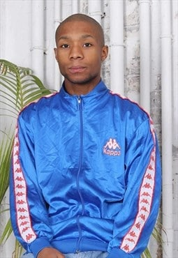Vintage Kappa Tape Logo Track Jacket Navy Blue