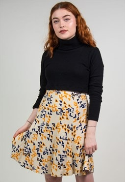 Vintage 70's Abstract Print Midi Skirt