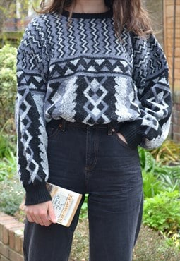 80s Vintage Black & Grey Abstract Knit Jumper