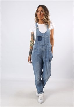 Denim Dungarees Tapered Legs STRETCH UK 14  (C8BB)