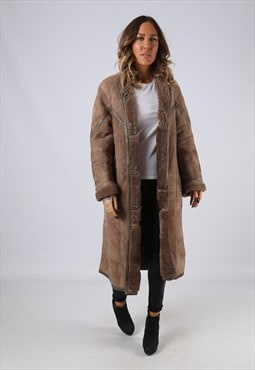 Sheepskin Suede Leather Shearling Coat UK 14 Large (LJ3C)