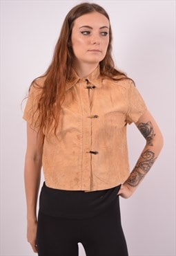 Vintage Versace Suede Overjacket Short Sleeve Brown