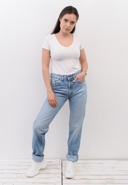 Vintage LEVI STRAUSS W31 L37 Denim High Rise Mom Jeans Blue