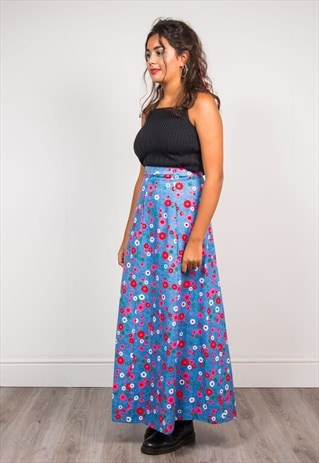 VTG 70'S BLUE BRIGHT FLOWER PATTERN HIPPIE BOHO MAXI SKIRT