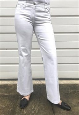 Womens Vintage 90s Armani trousers white cotton bootcut