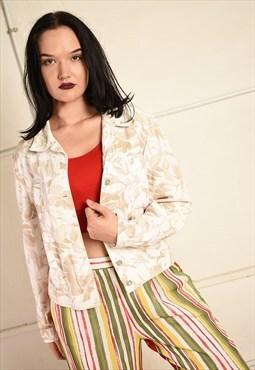 Vintage 90s neutral pastel denim floral print jacket