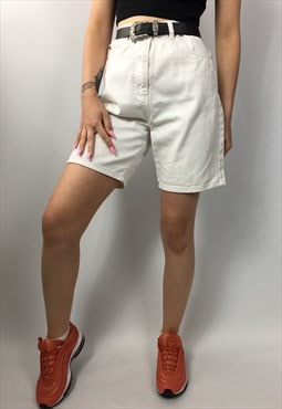 White Retro 90s Denim Mid Length Shorts