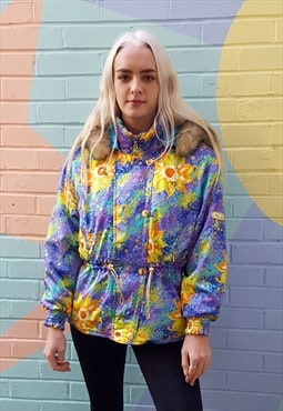 Vintage 80s bright printed lilac hooded ski jacket anorak