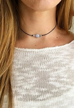 'Alex' Blue Lace Agate Crystal Choker Black Cord