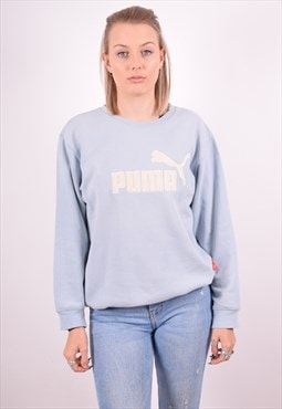 Puma Womens Vintage Sweatshirt Jumper XL Blue 90s