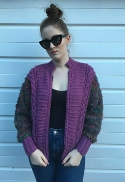 Womens Vintage 80s cardigan multicoloured jacket jumper