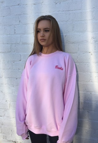 BARBIE OVERSIZED BAGGY JUMPER PINK FLEECE SWEATER SWEATSHIRT