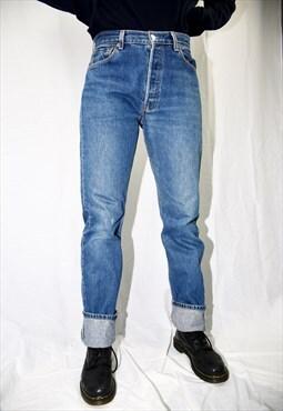 Vintage Medium Blue Washed High Waisted 501 Jeans 069