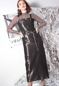 90s grunge goth silver black shiny metallic party maxi dress