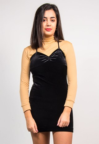 VINTAGE 90'S BLACK VELVET STRAPPY MINI SLIP DRESS