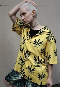 Loose fit oversize short sleeve hemp slogan print shirt top