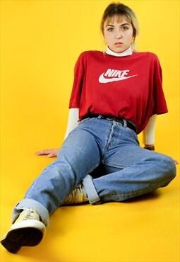 90s Red Nike Large Logo Print T-Shirt
