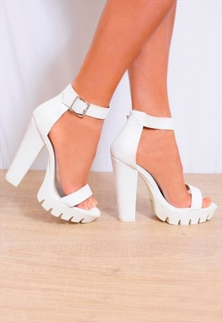 WHITE ANKLE STRAPS STRAPPY SANDALS HIGH HEELS