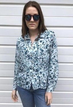 Womens Vintage 80s blouse blue floral boho long sleeve shirt