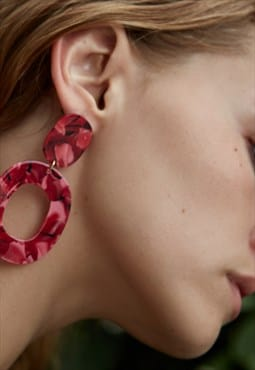 RICHMOND Earrings In Bold Red Acrylic