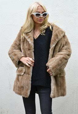 Vintage 1960s Light Brown / Blonde Faux Fur Coat