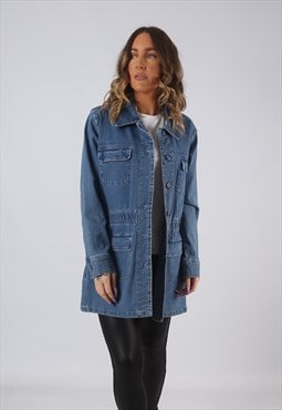 Denim Jacket Oversized Fitted Military Longline UK 14 (CW3L)