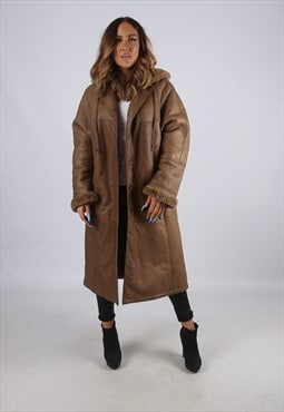 Vintage Sheepskin Leather Shearling Coat Long Hooded (J2A)
