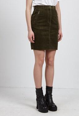 Vintage Green MIKKO Corduroy Mini Pencil Skirt