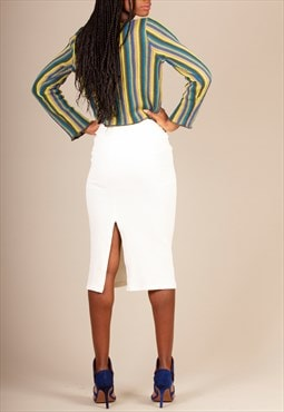 Cream Corduroy Skirt