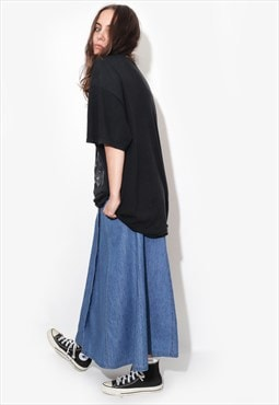 Vintage 90's DENIM maxi MIDI button front midi skirt