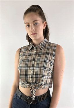 Womens Burberry shirt beige nova check blouse crop top