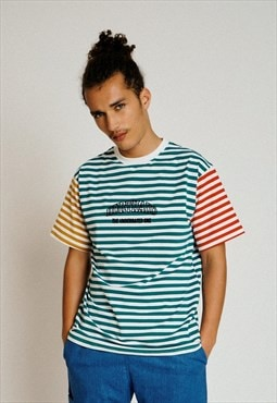 Handmade Short Sleeved T-Shirt in Multicolor Stripes