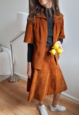 70s suede leather set jacket and skirt