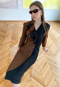 Vintage 80s brown dress