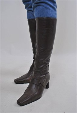 Women vintage brown knee-high heel women boots