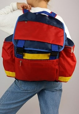 Vintage 80' Primaries Colourblock  Backpack / Travel Bag