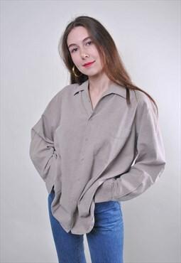 Grey minimalist woman oversize cotton shirt