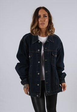 Vintage Denim Jacket Oversized Fitted UK 20 - 22 3XL (J3C)