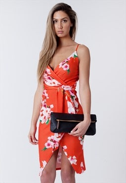 Chloe Coral Cami Wrap Floral Midi Dress
