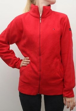Tommy Hilfiger - Red Embroidered Fleece Jumper - Large