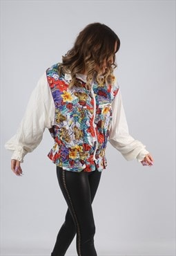 Shell Bomber Jacket Floral Oversized Patterned UK 14 (KBC)