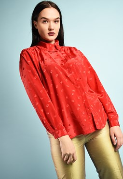 Vintage 80s retro shimmer shirt blouse top in red