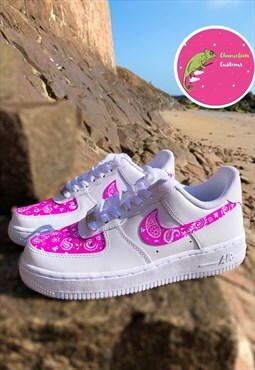 Custom Made Purple Bandanna Print Airforce 1's