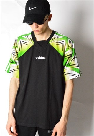 VINTAGE 90S BLACK GREEN ADIDAS V-NECK T-SHIRT