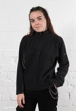 Vintage Columbia 1/4 Zip Fleece in Black w/ Spell Out Logo