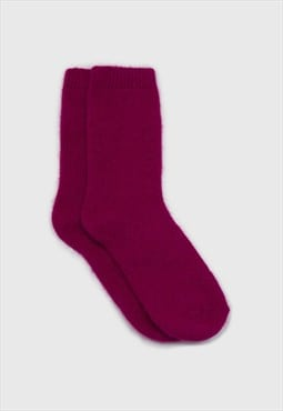 Bright purple angora smooth socks