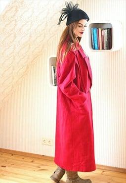Long red vintage wool coat