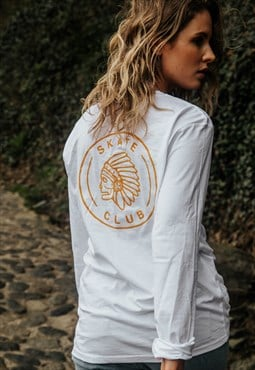 Long-sleeved graphic T-shirt white Skate Club back print