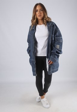 Vintage Denim Jacket Oversized Longline Long 22 - 24 (7BI)
